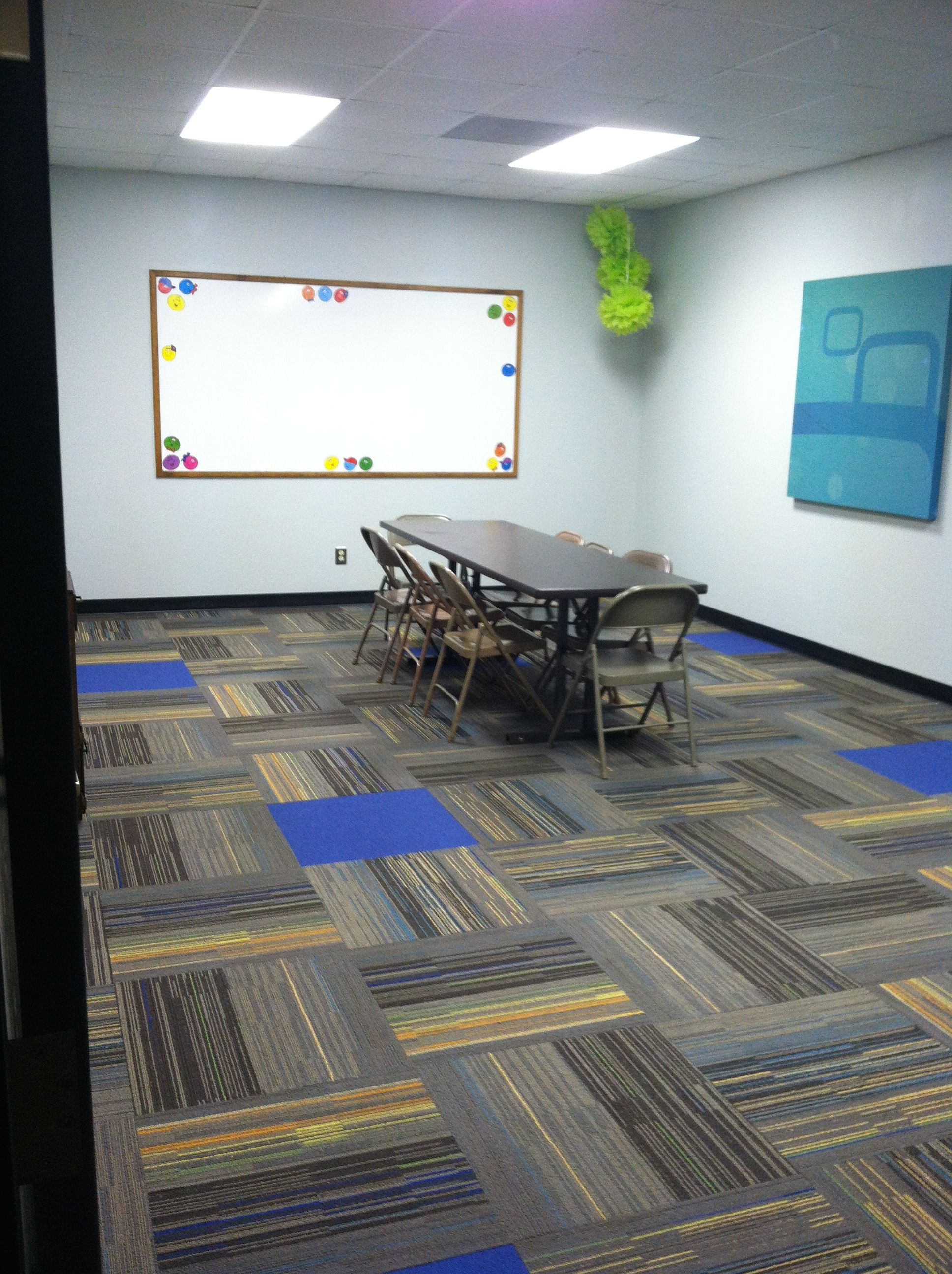Gray classroom with new carpet squares 4x4 soundproofing for Carpet squares for kids rooms