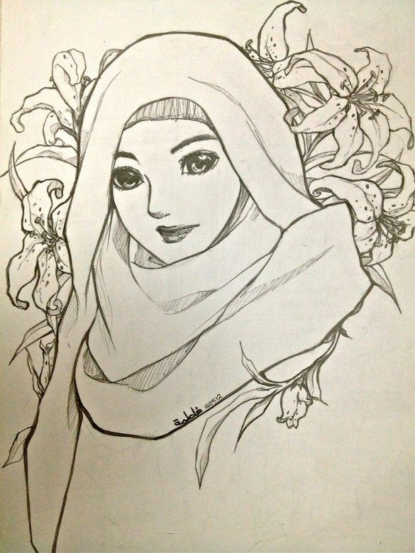 Hijabi muslimah drawing pencil