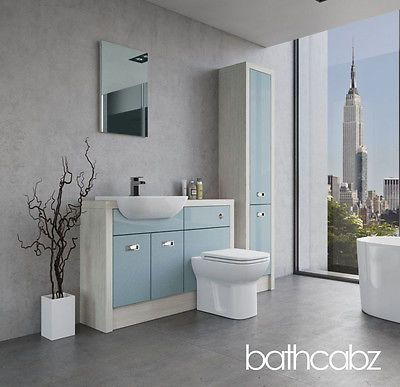 Duck Egg Blue/hacienda White #fitted Bathroom Furniture #1200mm With Tall # Units