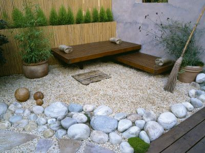 Meditation spot! Fung Shui style with a great bamboo fence ... on Meditation Patio Ideas  id=13164