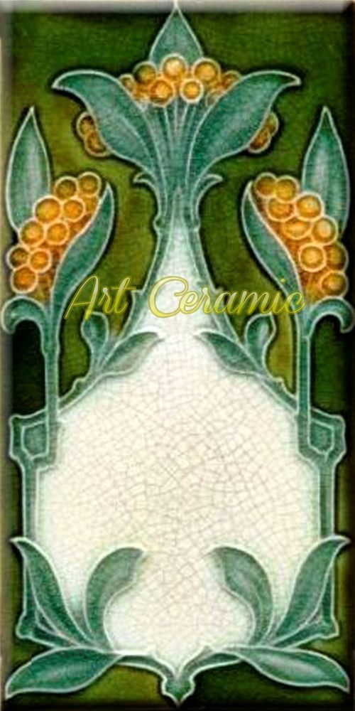 Art Nouveau Reproduction 3 X 6 Inches Ceramic Wall Tile 000035 Art Nouveau Flowers Art Nouveau Decor Art Nouveau Tiles