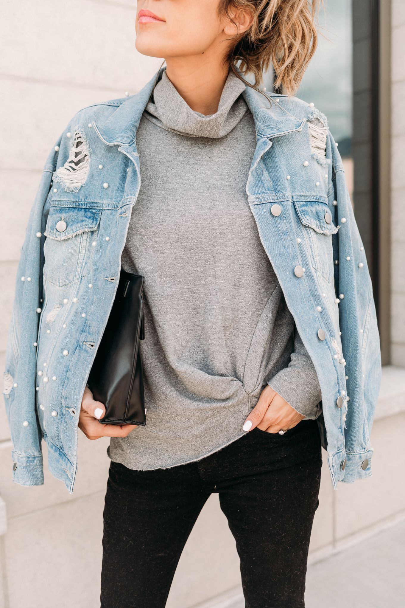 Flannel jacket with fur inside  Oversized distressed denim jacket with pearl detailing  For Stitch