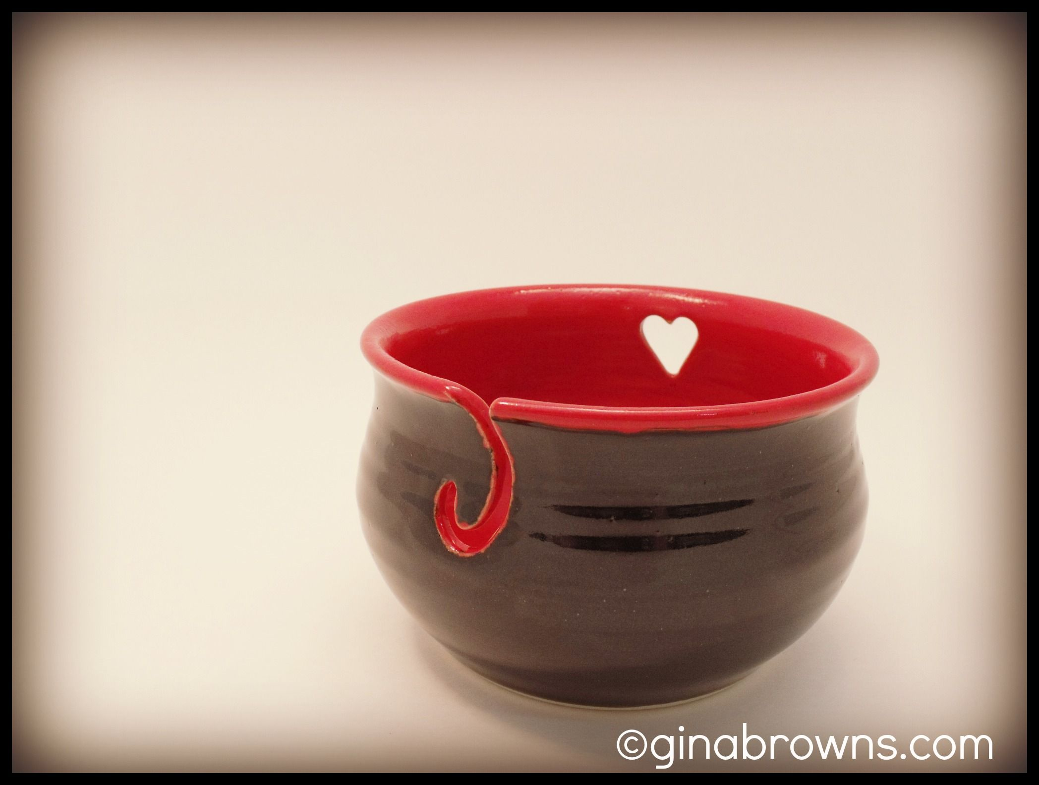 *Sorry knitters. This bowl has sold.* Bowl #124. Red & Black yarn bowl! Love the heart detail.