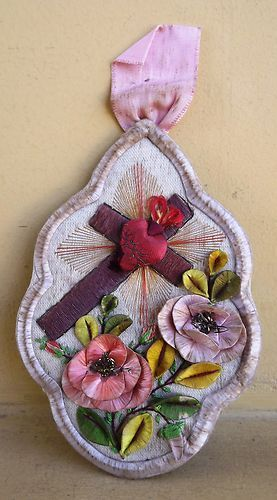 Genuine Beautiful Holy Scapular Sacred Heart Jesus and Cross Hand Embroidery