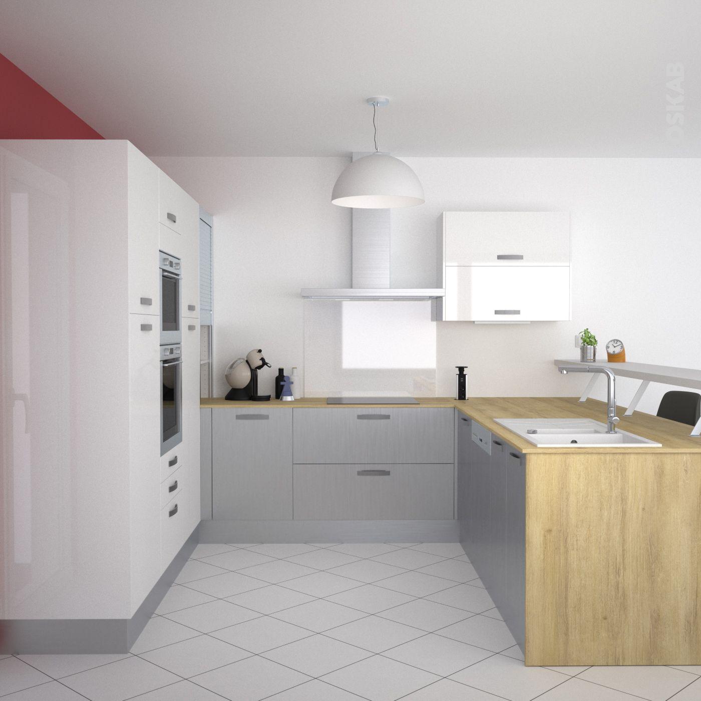 cuisine inox et blanche ultra design implantation en u avec snack bar murs couleur - Cuisine En U Plan