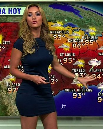 Sexy female weatherwomen