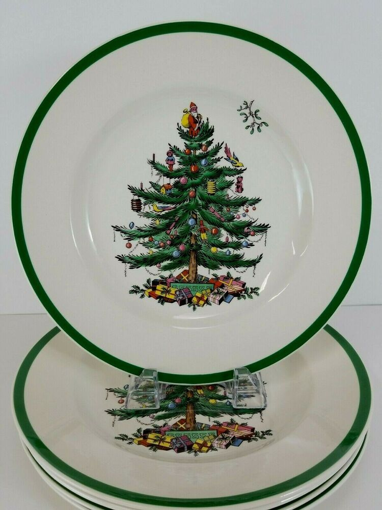 5 Vintage Spode Christmas Tree Dinner Plates S3324 Made In England 10 5 Inches Spode Holida Spode Christmas Holiday Dinnerware