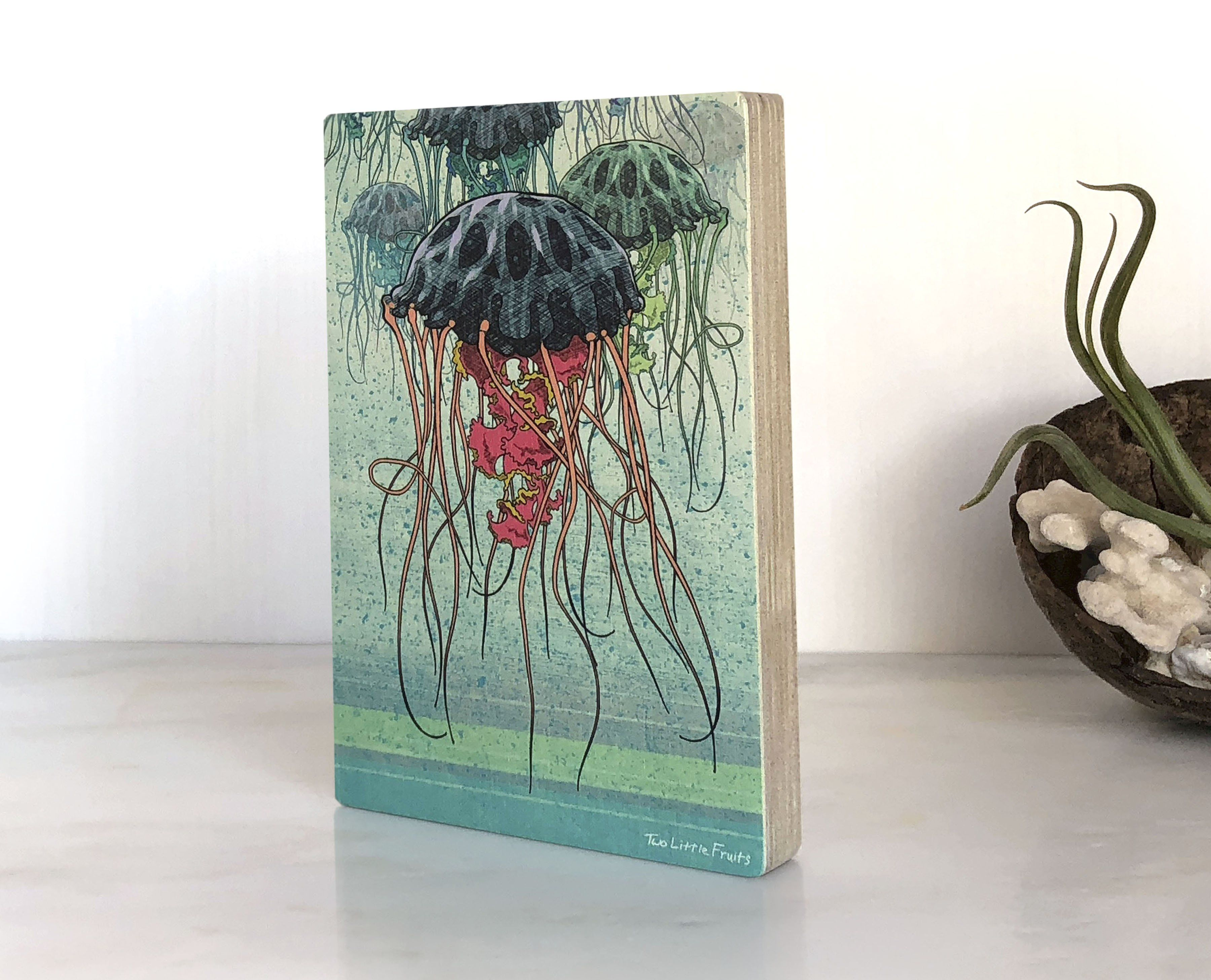 These two are awesome! Jellyfish Small Wood Shelf Art