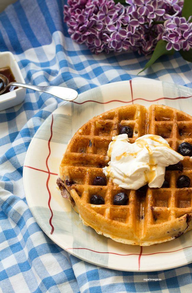 Lemon Blueberry Buttermilk Waffles Recipe Buttermilk Waffles Waffles Waffle Recipes