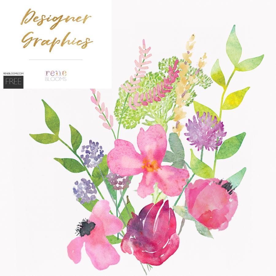 Free Watercolor Flower Elements Watercolor Flowers Tutorial
