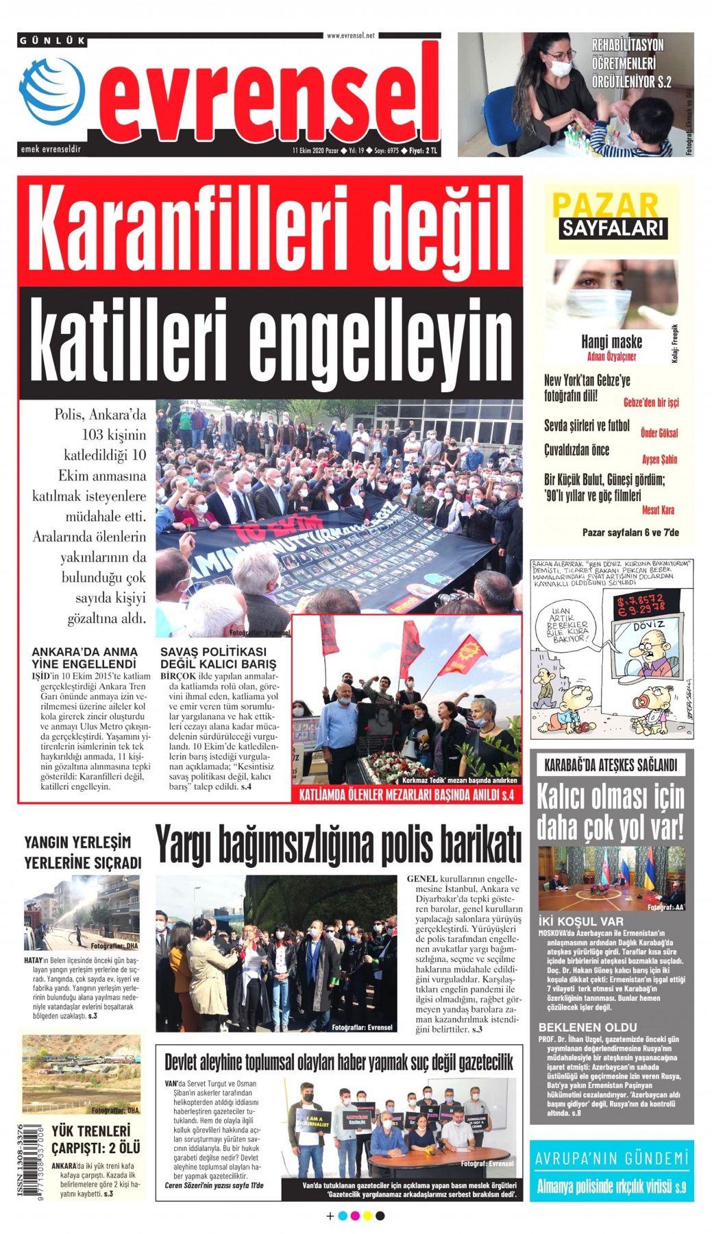 Evrensel Gazetesi 1 Sayfa 11 Ekim 2020 In 2020
