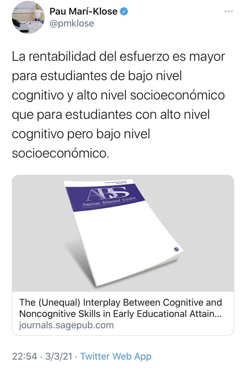 The Unequal Interplay Between Cognitive And Noncognitive Skills In Early Educational Attainment Carlos J Gil Hernandez 2021 In 2021 Education Elementary Education Secondary School
