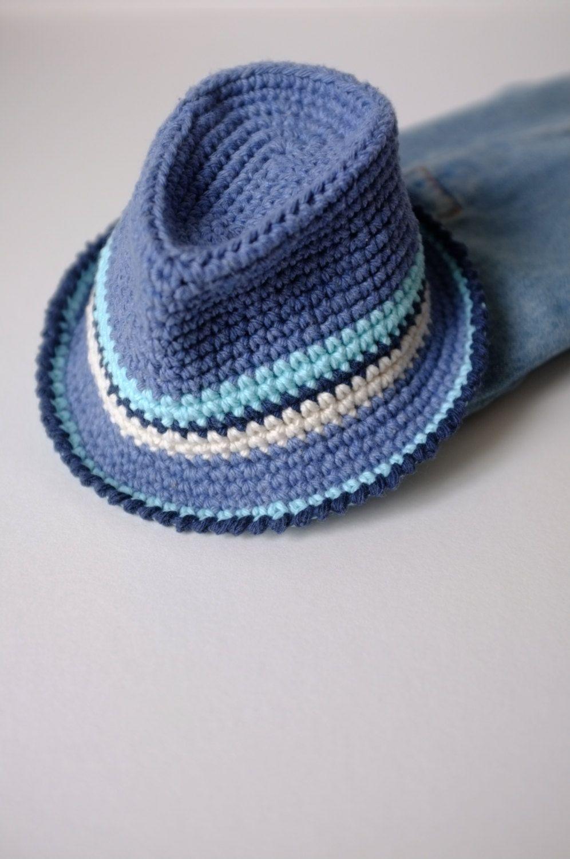 480770b3673 Baby Boy Fedora Hat Toddler Crochet Cotton Summer Hat by milazshop ...