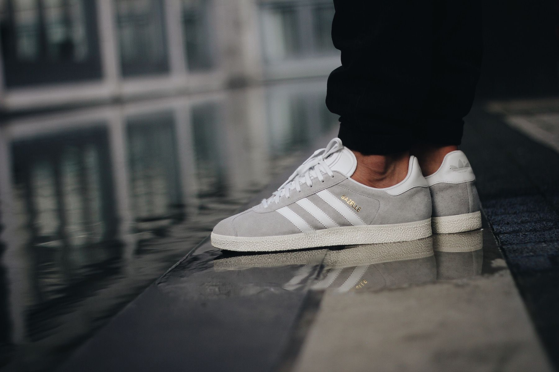 adidas gazelle black white on feet