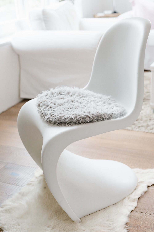 Sitzkissen Fur Panton Chair In Hellgrau Kunstfell Panton Chair