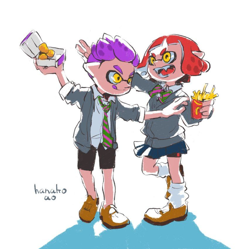 1boy 1girl bow chicken_nuggets food french_fries full_body highres ...