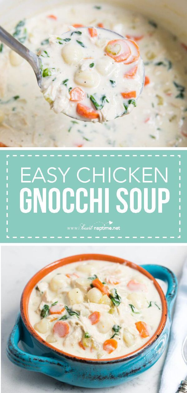 This homemade chicken gnocchi soup is the perfect comfort food... creamy, hearty and delicious! Only takes one pot and30 minutes to make. This is the BESTchicken gnocchi soup recipe!