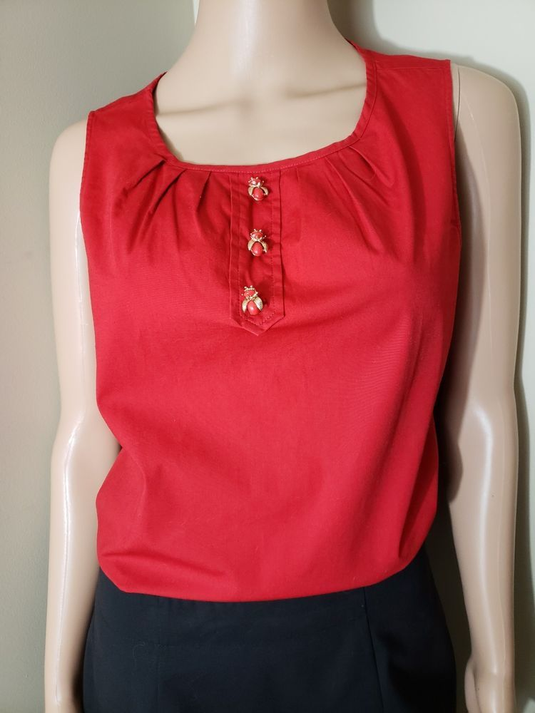 617f2d7e83bdb Pre-owned Talbots Red Sleeveless Blouse Top 10P w Gold Red Bug Buttons   Talbots  Blouse