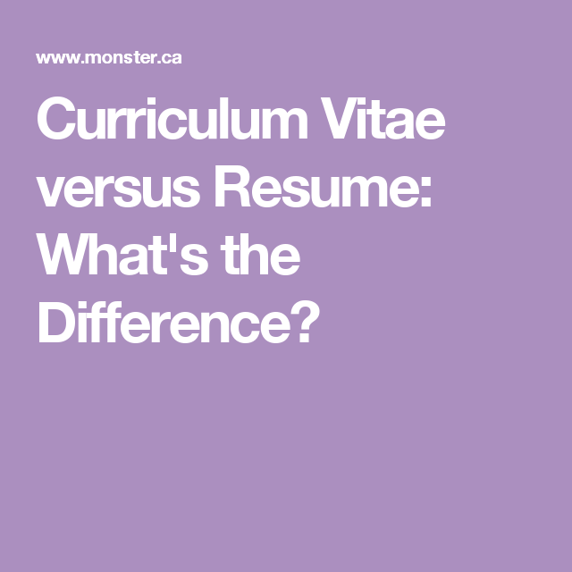 Vitae Vs Resume Impressive Curriculum Vitae Versus Resume What's The Difference  What I .