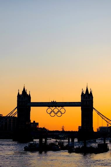 Tower Bridge With The Olympic Rings At Dusk