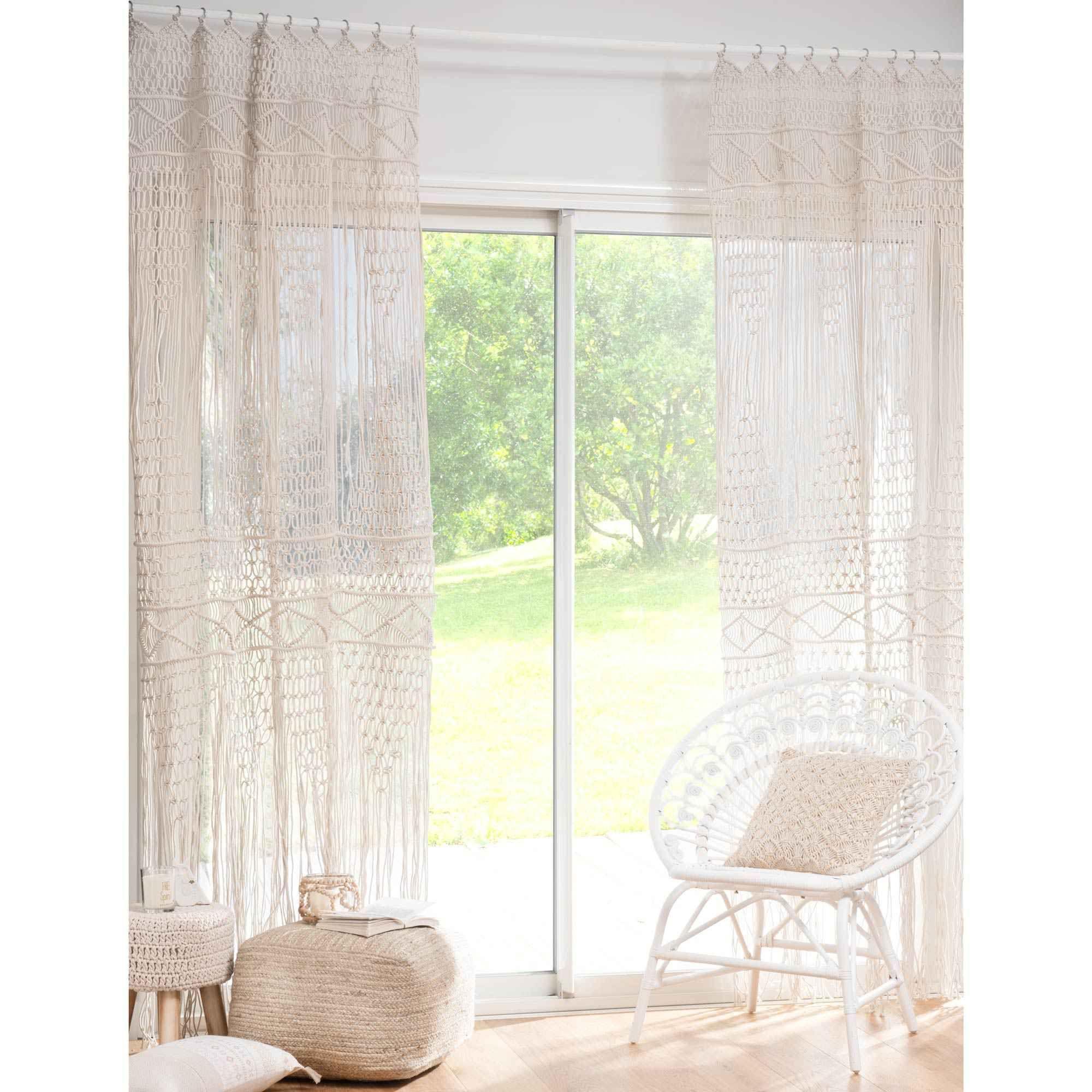 rideau macram en coton cru 105x250cm rideaux macram macram et coton. Black Bedroom Furniture Sets. Home Design Ideas