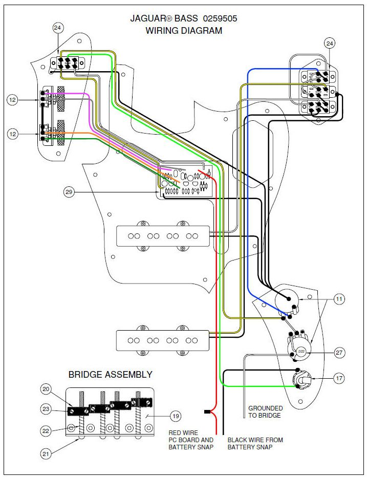 fe6a2692adf6b9cd5c10ecafe268228b fender jaguar bass wiring diagram mechanic's corner pinterest Telecaster 3-Way Switch Wiring Diagram at crackthecode.co