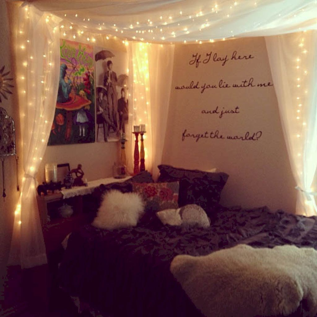 30 Diy Apartment Decorating Christmas Lights Bed Canopy With Lights Diy Girls Bedroom Headboard Curtains