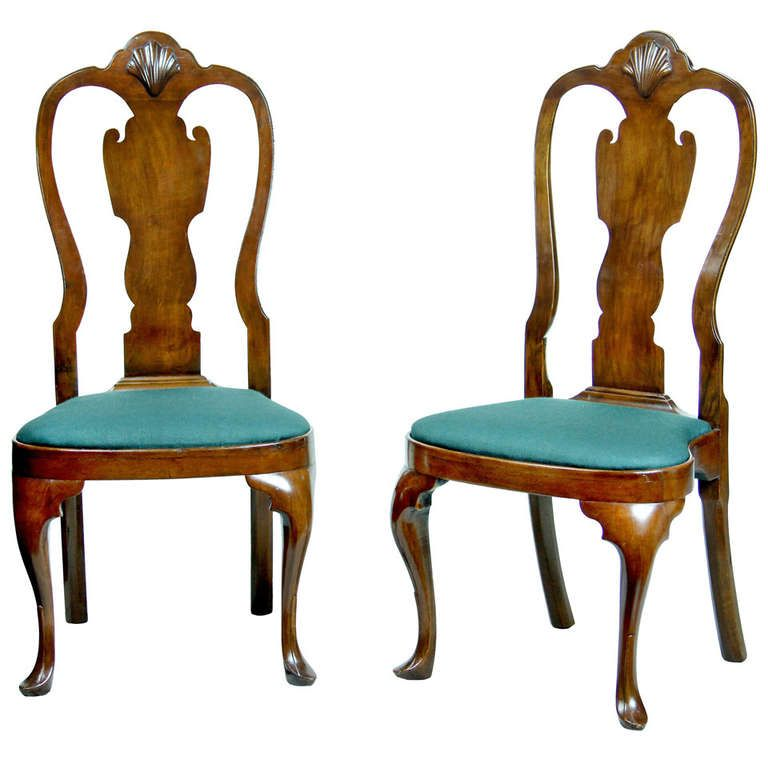 For Sale on - Pairs of these chairs are hard to find and these have no  breaks or alterations. They have the beautiful style that many consider the  finest of ... - Pair Of Walnut Queen Anne Side Chairs With Shell, Philadelphia