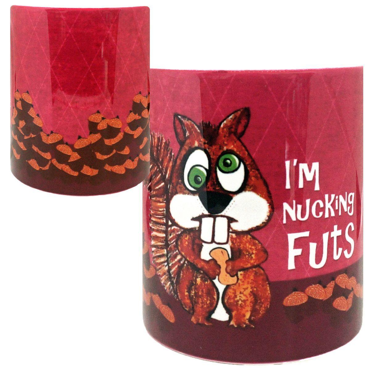 Nucking Futs Funny Squirrel Mug White coffee cups, Mugs