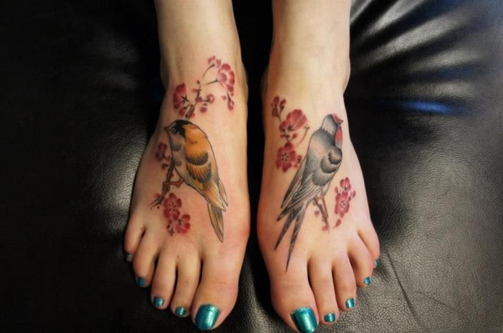 tattoo von evil from the needle the o 39 jays bird tattoos and flower. Black Bedroom Furniture Sets. Home Design Ideas
