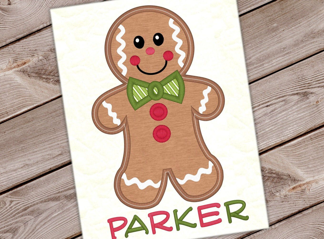 Gingerbread Boy Christmas Applique Cookie Design Christmas