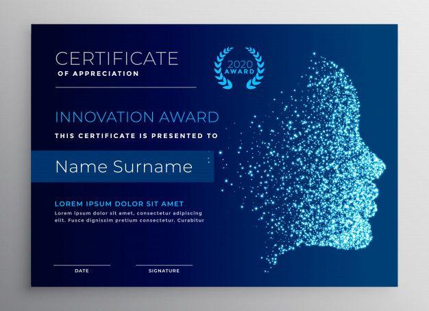 Diseño de certificado de premio de innov  Premium Vector