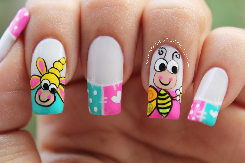 Decoracion de uñas caricatura abeja - bee nail art   uñas decoradas ...