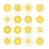 Set of sixteen different icons sun, isolated on white background,…