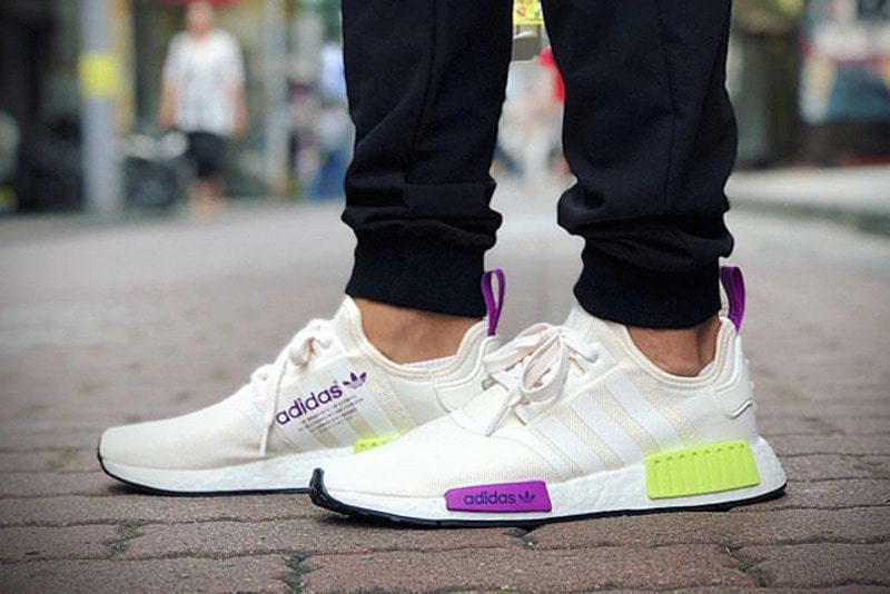 new products 26836 ce93a adidas NMDR1  Semi Solar CreamPurpleLime  Mens Trainers D96626  adidas RunningShoes