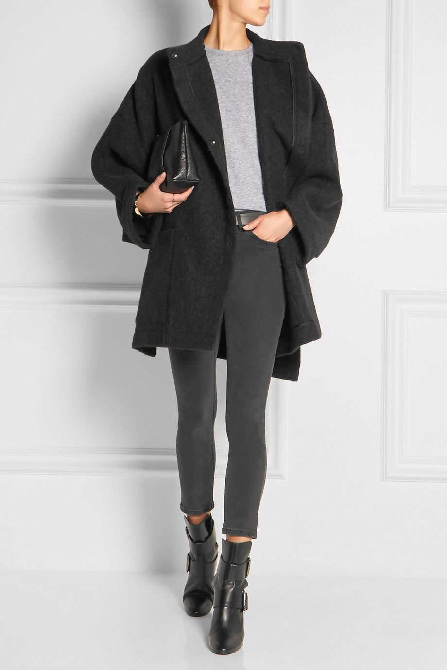 85ba85177adc ACNE STUDIOS Alden oversized alpaca and wool-blend coat PIERRE HARDY Tom  leather ankle boots ALEXANDER WANG Dumbo textured-leather clutch