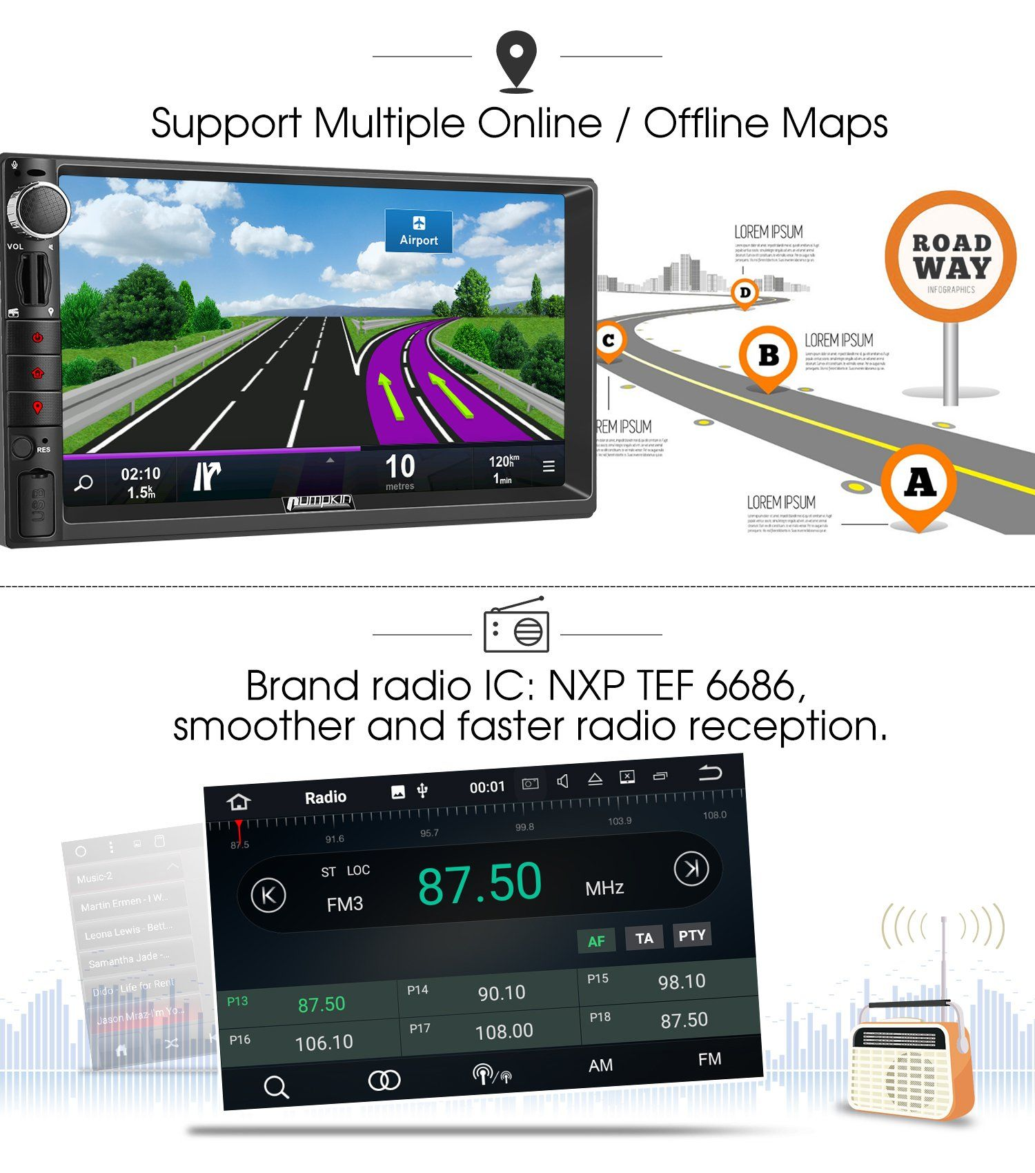 Pumpkin Android 7 1 Car Stereo Radio Double Din With Gps Wifi Support Fastboot Backup Camera Android Auto Aux 7 Inch Touc Backup Camera Car Stereo Android Auto