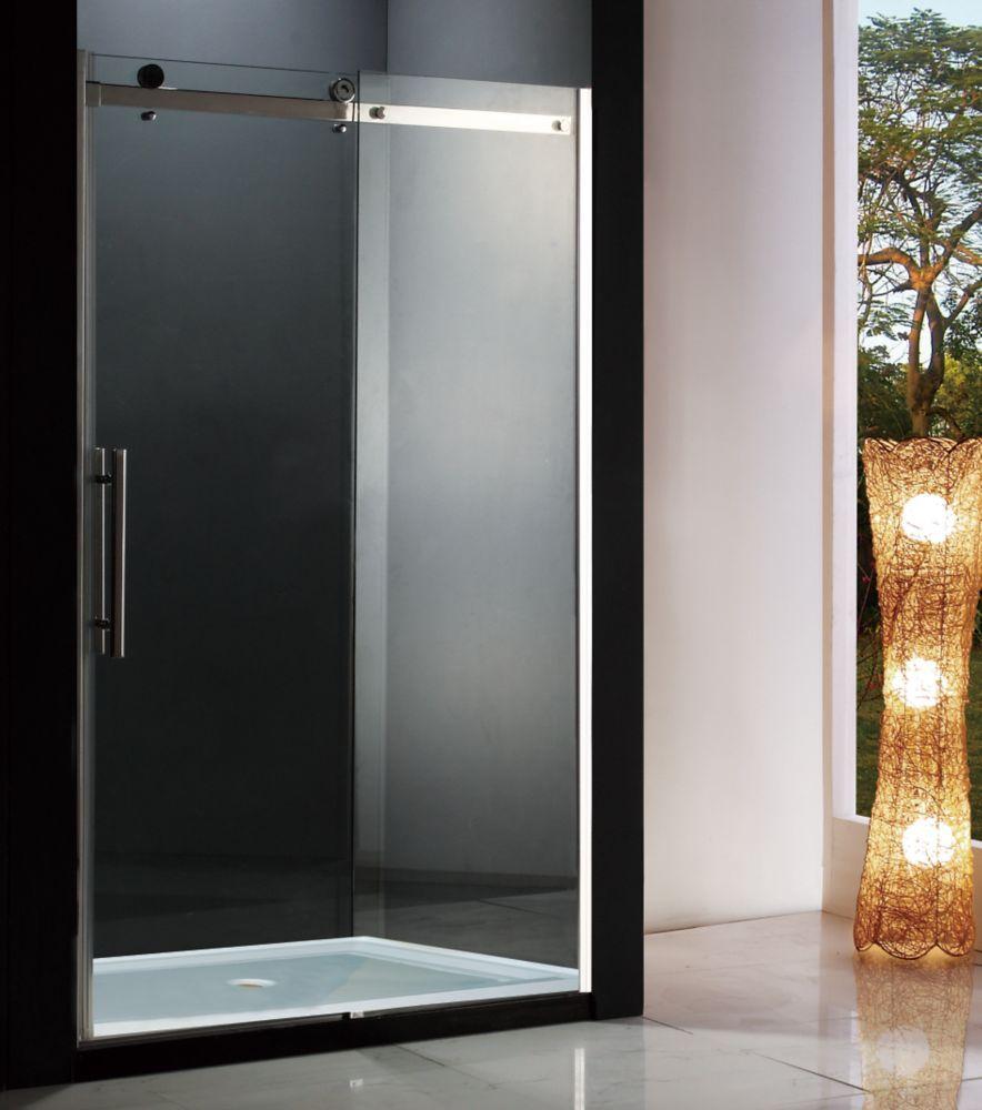 Riga 48 Inch Shower Door With Base The Home Depot Canada Shower Doors Shower Sliding Glass Door Tub Doors 48 inch glass shower door