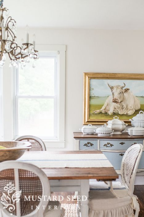 Bright White Ceiling & Pearly White Walls  Miss Mustard Seed Best Miss Mustard Seed Dining Room Inspiration