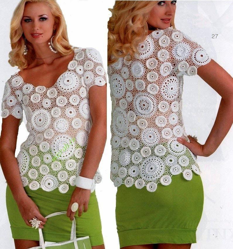 Patrón blusa de dama diseño en crochet irlandés | Horgolt blúz, top ...