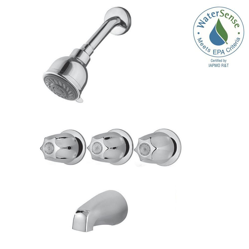 Pfister 3 Handle 3 Spray Tub And Shower Faucet In Polished Chrome Valve Included G01 3210 The Home Depot Shower Tub Tub And Shower Faucets Pfister