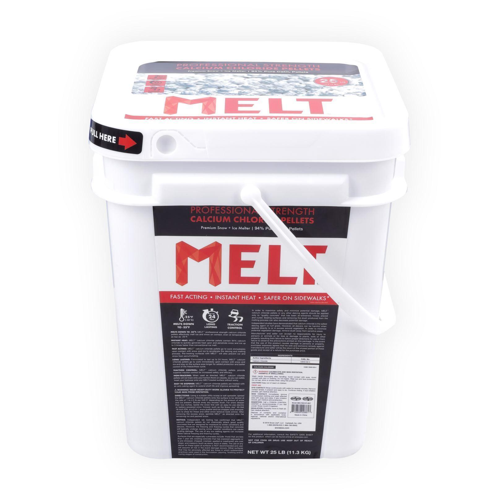 Snow Joe Melt 25 Lb Bucket Calcium Chloride Pellets Professional