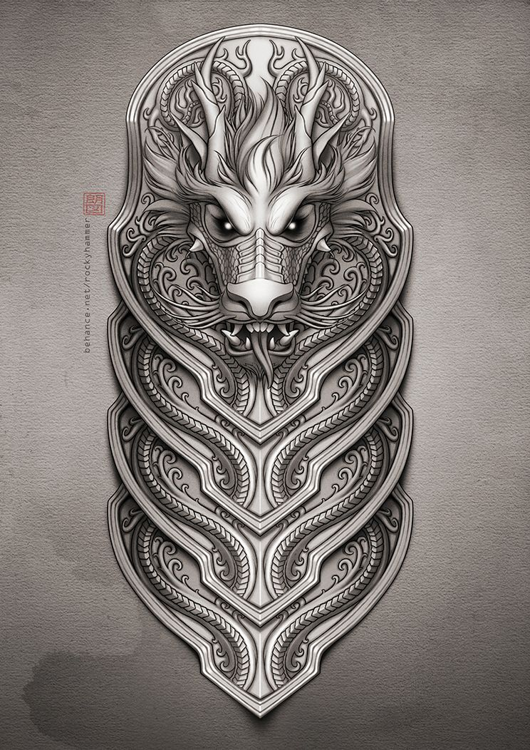 A commissioned chinese dragon design for a half sleeve tattoo the dragon 39 s head was modified a - Dessin dragon japonais ...