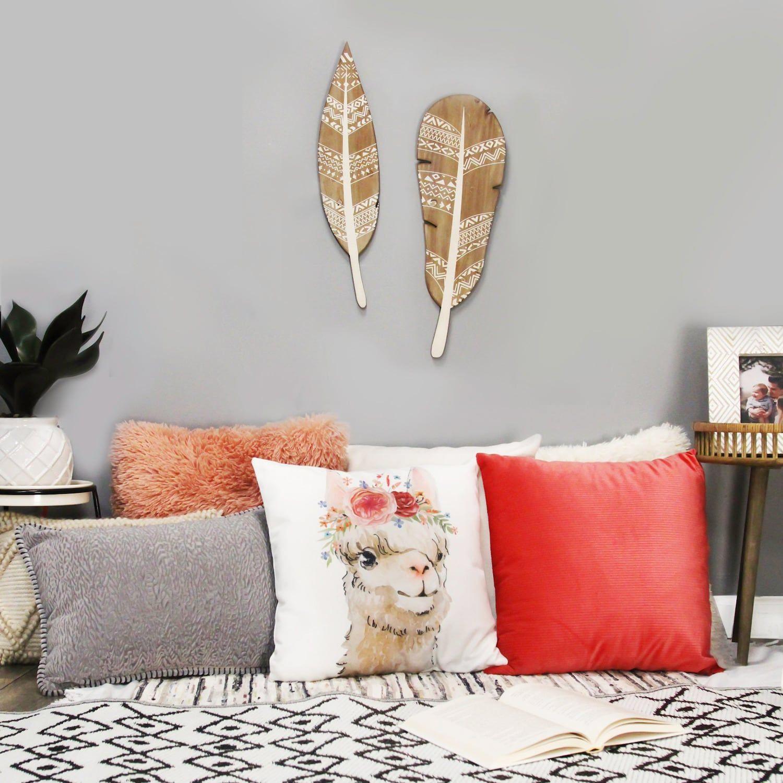 Stratton Home Decor Set of 2 Boho Wood Feathers Wall D¨¦cor #Affiliate #Decor, #spon, #Set, #Stratton, #Home
