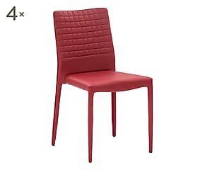 Set di 4 sedie in metallo e pu Regina bordeaux - 43x50x91 cm