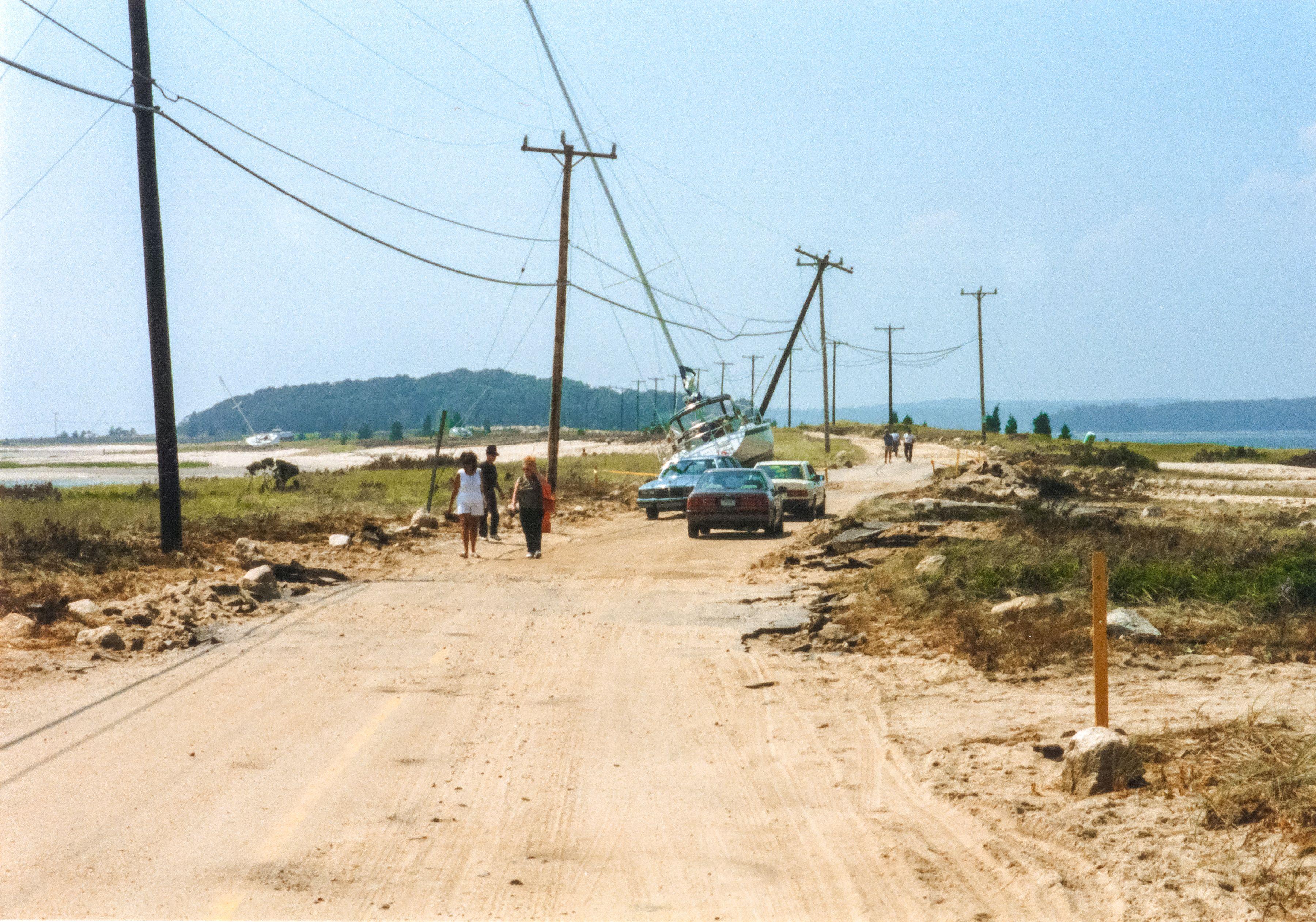 Hurricane Bob Aftermath Causeway Road Towards Hog Island And Mashnee Island Road Country Roads