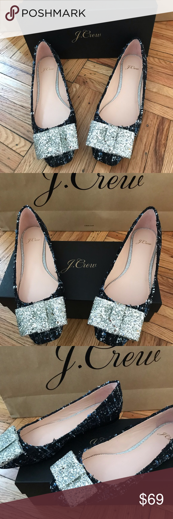 639e2b92ab73 J crew poppy ballet flat New J Crew Poppy ballet flats in tweed with sequin  bows. Size 8 J. Crew Shoes Flats   Loafers