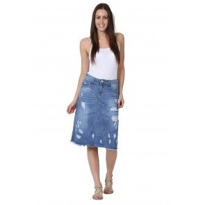 Mid-length Denim Skirt. Fashionable distressed denim midi skirt ...