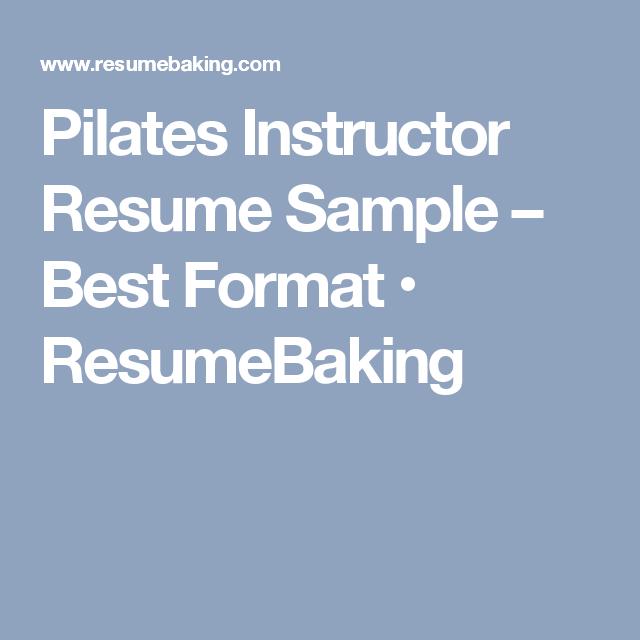 pilates instructor resume - Kubre.euforic.co