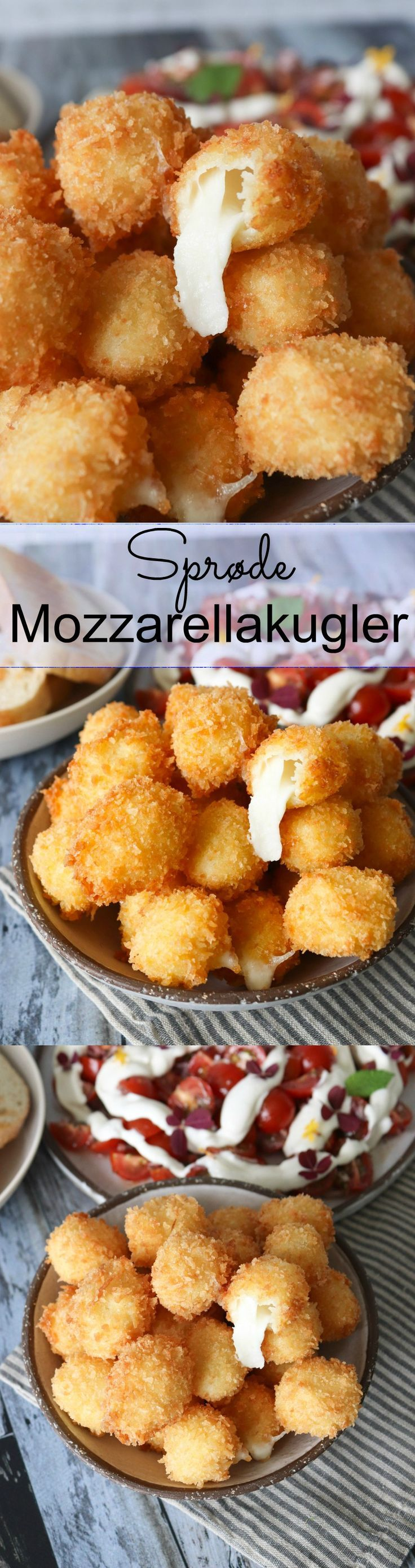 Friterede Mozzarellakugler - Sprøde Ostekugler #tapasideer